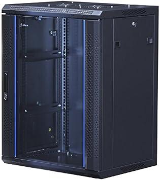 19Power 15U 19 Inch Wall Mount Server Rack Cabinet With Tempered Glass Door    Black