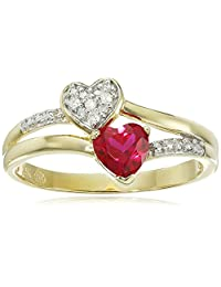 10k Yellow Gold Created Ruby and Diamond Accent Double Hearts Ring, Size 7