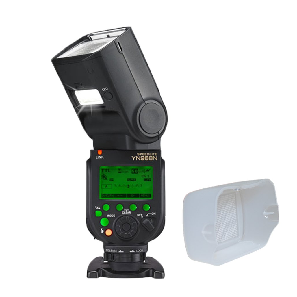 YONGNUO Professional Speedlite YN968N with Arzroic Diffuser Camera TTL Flash Speedlight for Nikon D7500 D7200 D7100 D7000 D5500 D5300 D5200 D3400 D810 D750 D700 D600 D500 and Other Nikon DSLR Camera