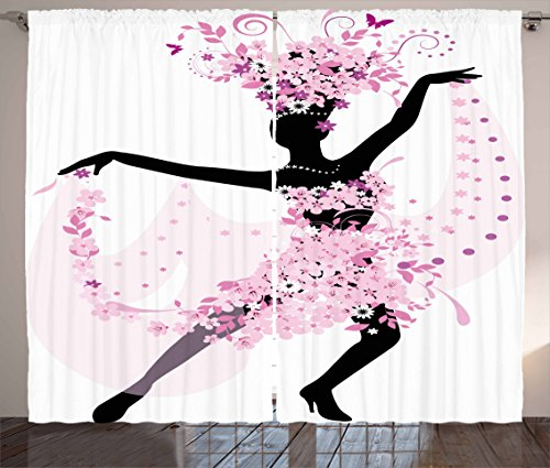 Ambesonne Latin Curtains, Silhouette of a Woman Dancing Samba Salsa Latin Dances Spain and Mexico Culture Print, Living Room Bedroom Window Drapes 2 Panel Set, 108 W X 90 L Inches, Pink Black