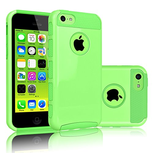 iPhone 5C Case, Tekcoo(TM) [TDuke Series] Protective Case For Apple iPhone 5C Hard Hybrid Defender Slim Glossy Cover [Scratch Proof] Plastic Shell Outer + TPU Rubber Inner [Apple Green]