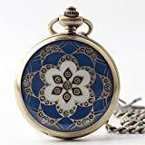 Zxcvlina Classic Smooth Exquisite Blue Retro Pocket Watch Printed Unisex Metal Mechanical Pocket Watch Suitable for Gift Giving