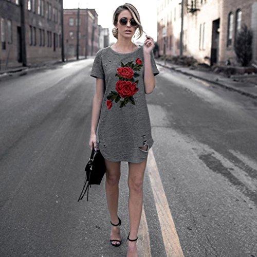 Blusa, Oyedens Mujeres Bordado manga corta vestido de fiesta de algodón de flores