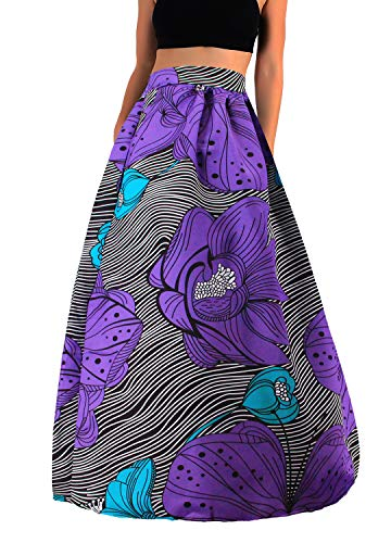Novia's Choice Women African Floral Print Pleated High Waist Maxi Casual A-Line Skirt(Purple Leaf M)