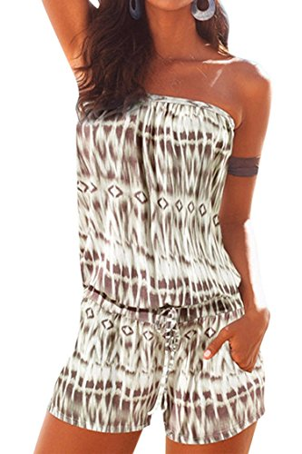 VamJump Womens Khaki Casual Summer Tube Off Shoulder Beach Shors Jumpsuit Romper