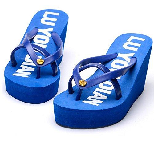 Pantofole colore Blu Le Donne Femminile Dimensioni Spesse Alti Haizhen Scarpe Eu39 Donna Estate Per cn39 Beach Pink uk6 Talloni Dark Da rq7rWaOR0
