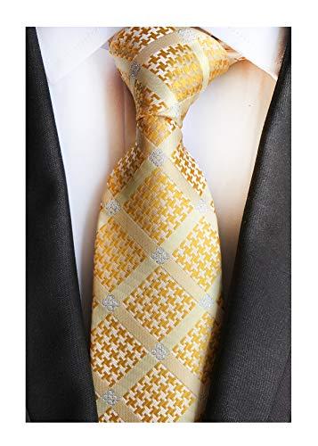 - Men Checks Golden Yellow Jacquard Woven Silk Ties Geometric Wedding Boys Necktie