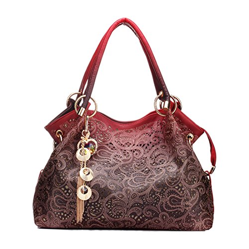 2018 women bag hollow out ombre handbag floral print shoulder bags ladies pu leather tote bag (Color Red)