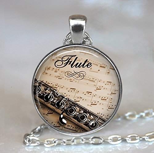 Flute and Music Pendant, Flute Pendant Flute Jewelry, Flute Necklace, Music Teacher Gift Flautist Gift Flute ,Halloween Necklace,christmas Necklace -