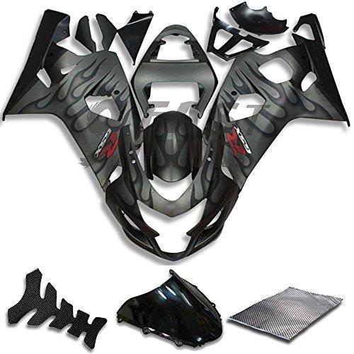 9FastMoto Fairings for suzuki 2004 2005 GSX-R600 GSX-R750 K4 04 05 GSXR 600 750 K4 Motorcycle Fairing Kit ABS Injection Set Sportbike Cowls Panels (Black & Gray) S0703