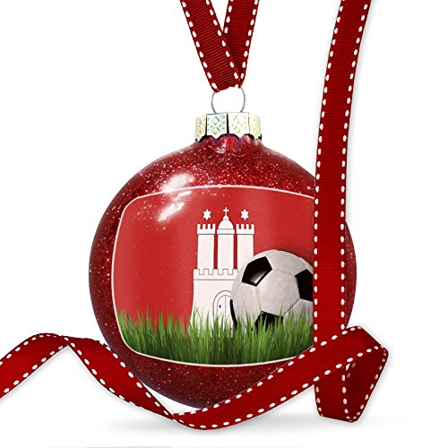 Christmas Decoration Soccer Team Flag Hamburg region Germany Ornament by NEONBLOND