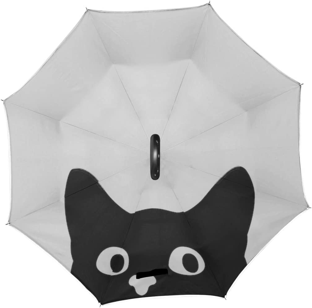 Double Layer Inverted Inverted Umbrella Is Light And Sturdy Curious Cat Hides Peeps Sticker On Reverse Umbrella And Windproof Umbrella Edge Night Ref