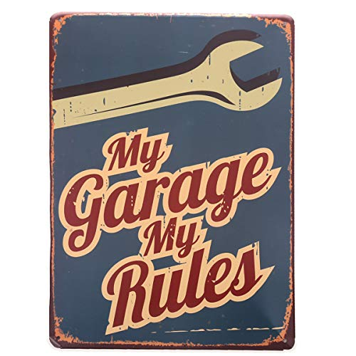 HANTAJANSS Garage Metal Signs My Garage My Rules Tin Sign Vintage for Home Decoration 12 X 8 -