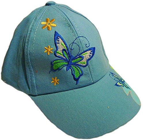 [Butterfly & Flowers Embroidered Girls Baseball Cap Sun Hat (Light Blue)] (Baseball Girl Costume)