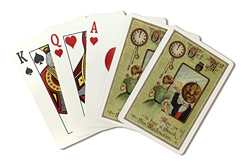 Halloween Greeting - Woman Looking at Pumpkin Man in Mirror (Playing Card Deck - 52 Card Poker Size with Jokers)