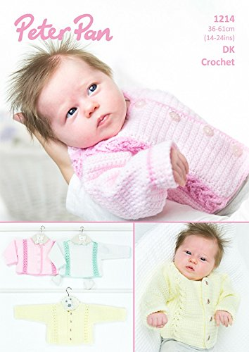 Peter Pan Baby Cardigans & Sweater Crochet Pattern 1214 DK