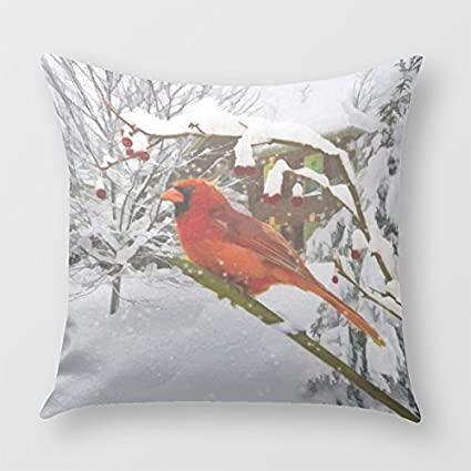 Amazon Cardinal Bird Snow Winter Throw Pillow Cover For Sofa Custom Winter Throw Pillow Covers