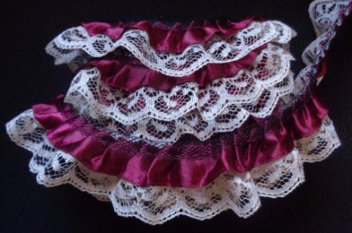 1-wide-flower-satin-ruffle-lace-trim-sewing-diy-craft-supplies-embellishments-by-the-yard