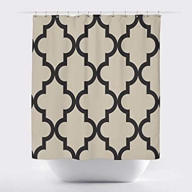 Gillham Studios Scalloped Durable Fabric Shower Curtain (71x74 inch) Large Black on Ivory