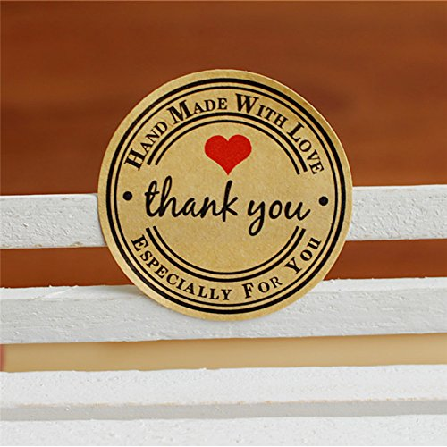 Stock Paper - 12 60 120pcs Diameter 3cm Thank You Love Self Adhesive Stickers Kraft Label Sticker Made Gift Cake - Your Truck Bedroom Racing Orders Girls Water Planners Teen ()