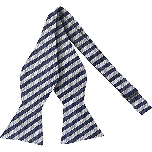 Luther Pike Self Tie Woven Striped Bow Ties For Men Tuxedo Bowtie Navy Blue & White Bow Tie