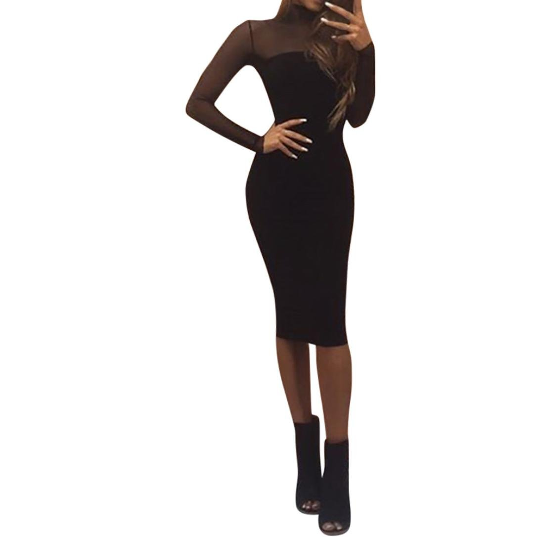 GOTD Women Sexy Mesh Long Sleeve Mini Dress Bodycon Party Solid Cocktail Beach Holiday (S, Black)