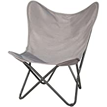 PatioPost Butterfly Chair Outdoor Camping with Black Steel Frame, Home Office Furniture, Grey