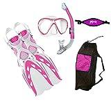 MARES X-Stream Fins X-Vision LiquidSkin Mask Ergo Dry Snorkel DXDiver Mask Strap Mesh Gear Bag Snorkeling Scuba Diving Size SM, Pink