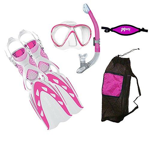 MARES X-Stream Fins X-Vision LiquidSkin Mask Ergo Dry Snorkel DXDiver Mask Strap Mesh Gear Bag Snorkeling Scuba Diving Size SM, Pink by Mares