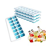 Ice Cube Trays, Ouddy 4 Pack Silicone Ice Cube Tray with Lid, Ice Cube Molds, Easy-Release 14-Ice Trays Can Make 56 Ice Cubes, Stackable Durable (Blue)