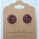 Hematite-tone Maroon Faux Druzy Stone Stud Earrings 12mm