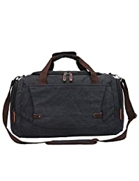 Toupons Men's Overnight Bag Canvas Weekend Travel Duffel Bag Carry-on Luggage Tote Bag (Black)