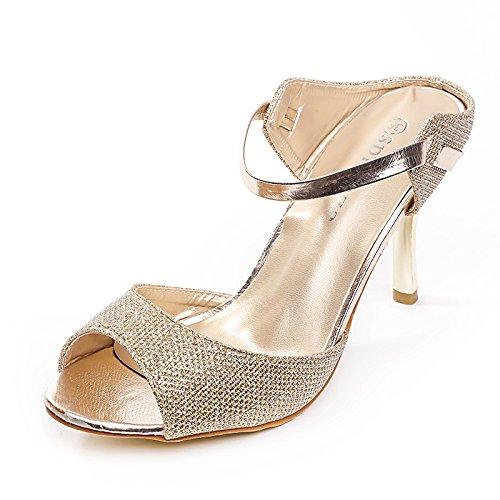 primavera ZHANGJIA i alti sexy sandali oro pesce i bocche 36 tacchi donne e wHHqxIra8