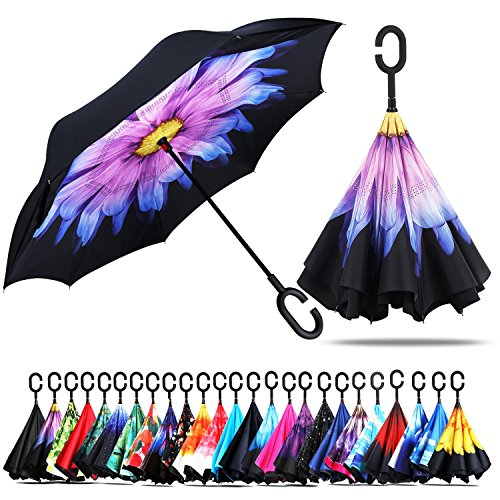 Owen Kyne Windproof Double Layer Folding Inverted Umbrella, Self Stand Upside-Down Rain Protection Car Reverse Umbrellas with C-Shaped Handle (Purple Daisy)