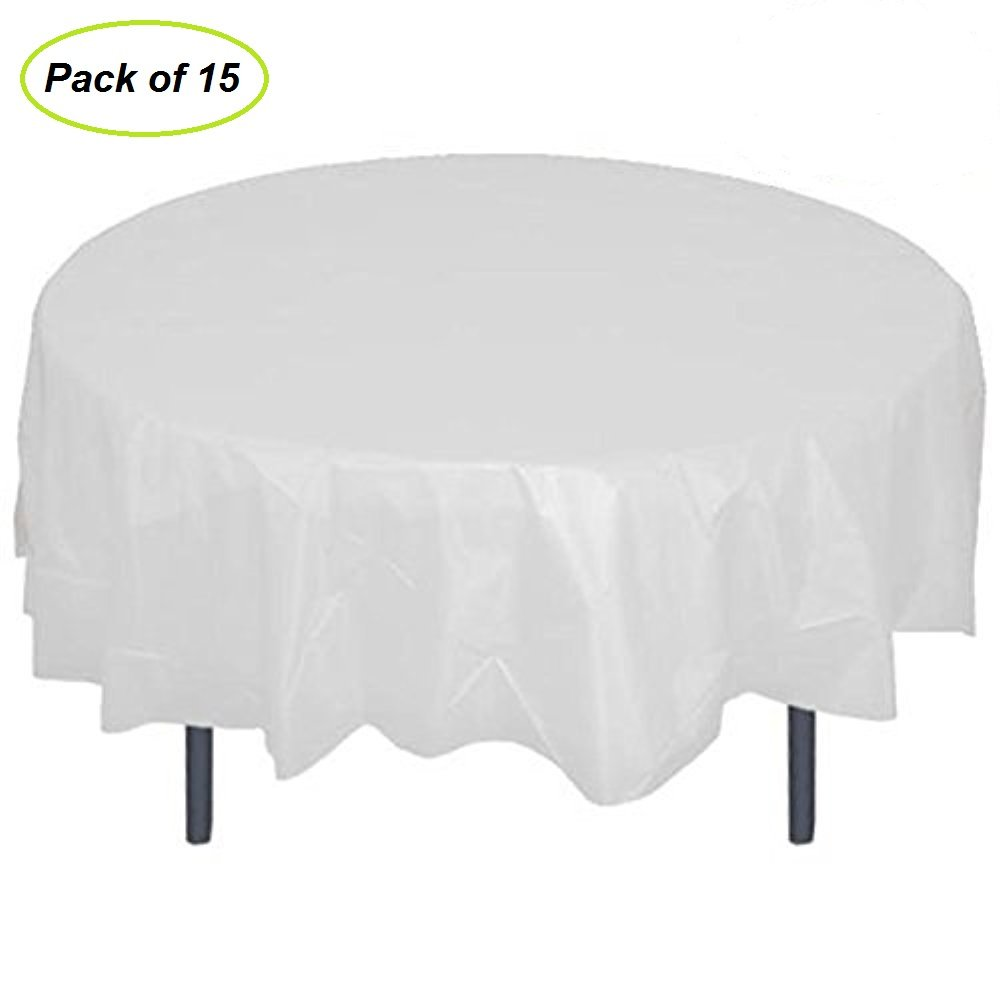84'' Plastic Round Tablecloth, JRing 15Pack Disposable Table Cover Reusable for Any Parties/Event (PEVA) (White)