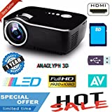 Updated HD 1080p Projector Vivibright LED Projector for Home cinema Mini Portable Projector full HD 3D HDMI VGA USB TV SD LED Projector 800x600 Pixels (SVGA)