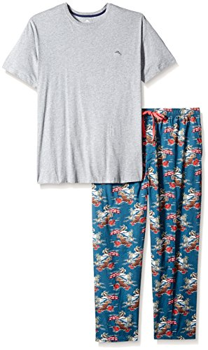 Tommy Bahama Men's Size Woven Pant Knit Tee Pajama Set, Santa Beach, ()