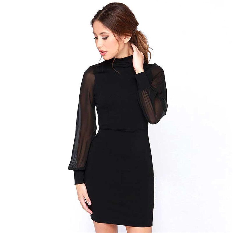 Bestdress Women's Long Sleeve Mesh Sleeve Blackless Club Dress Mini Bodycon