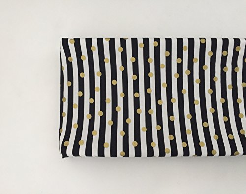 Changing Pad Cover - Black and White Stripes with Gold Dots by Lullabies and Lollipops