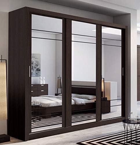 Arthauss – Armario con puerta corredera y espejo Arti 2, 250 cm, color wengué.: Amazon.es: Hogar
