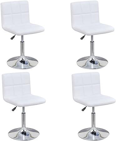 Vidaxl 4x Chaise De Salle A Manger Pivotante Reglable Blanc