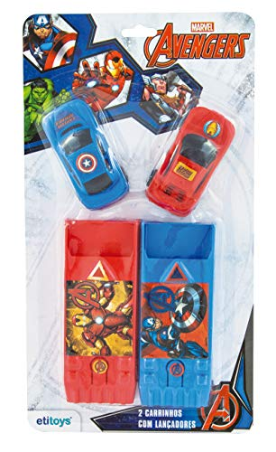 Carro com Lançador 2 Peças Avengers Etitoys Azul/Vermelho