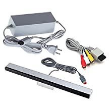 Jadebones Wii Replacement Cables Set, Wii AC Power Adapter Block, AV Cable, and Wired Motion Sensor Bar for Nintendo Wii