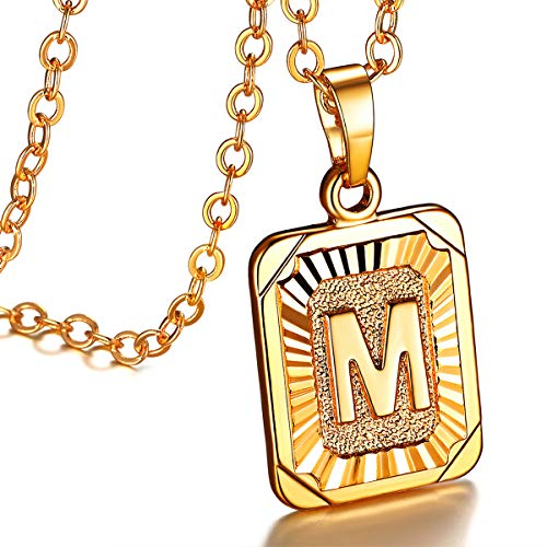 - FOCALOOK Initial Letter Pendant Necklace Mens Womens Yellow 18K Gold Plated Square Script Capital Initial Jewelry Stainless Steel Ajustable Gold Link Chain 22 Inch Monogram Necklace Gift(Alphabet M)