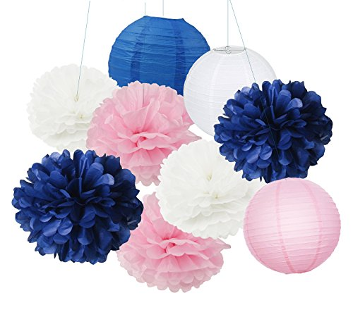 Furuix 9 pcs White Navy Pink 10inch Tissue Paper Pom Pom Paper Lanterns Mixed Package for Navy Blue Themed Party Wedding, Baby Shower Decoration Table Hanging Decor,Navy & Pink Nursery Room Decoration (Decor Hanging Party)