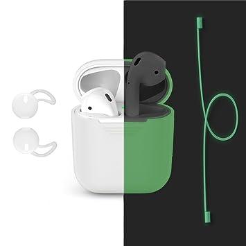 Carcasas de Airpods, Bandmax Protectora de Silicona con Auriculares de Airpods Conector Anti-pérdida(Verde Luminoso): Amazon.es: Electrónica