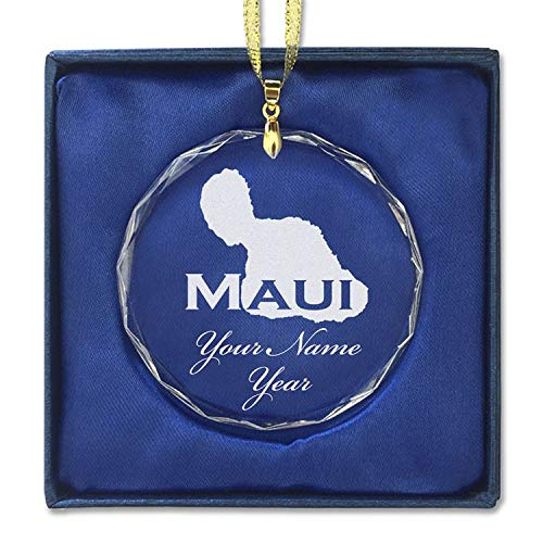 SkunkWerkz Christmas Ornament, Maui Island, Personalized Engraving Included (Round Shape)