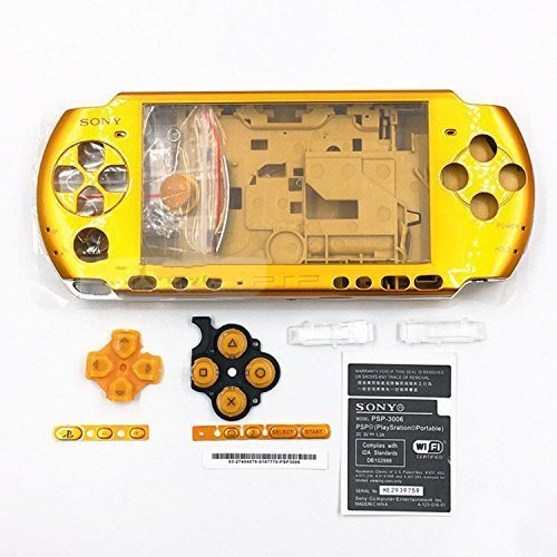 (Full Shell Housing Case Cover with Buttons Kit Set For Sony PSP3000 PSP 3000 3001 3002 3003 3004 Series Replacement - Gold)