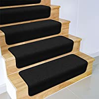 House, Home and More Set of 15 Overstep Attachable Carpet Stair Treads - Black - 17 In. X 30 In.
