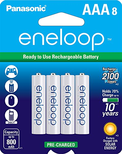 Panasonic BK-4MCCA8BA Eneloop AAA 2100 ciclo Ni-MH pre cargado baterías recargables (paquete de 8)